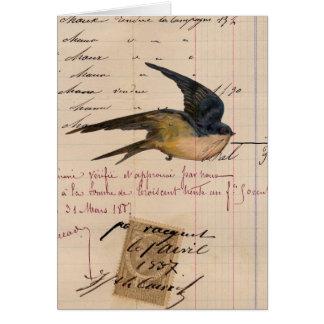 Vintage Bird and Ledger Paper Digital Art Greeting Card