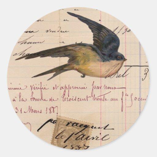 Vintage Bird and Ledger Paper Digital Art Classic Round Sticker