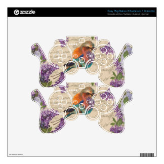 Vintage bird and lilac PS3 controller skin