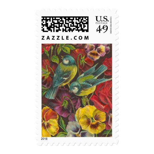 Vintage Bird and Pansey Postage