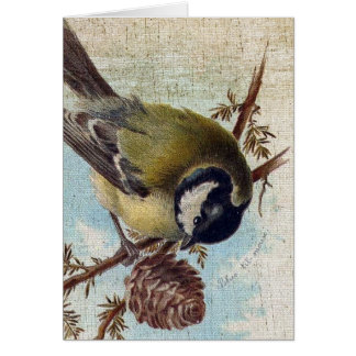Vintage Bird and Pinecone Greeting Card