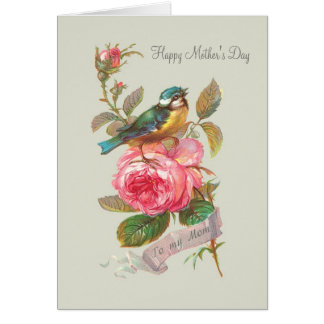 Vintage bird and rose Mother's Day Greeting Card