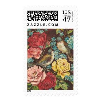 Vintage Bird and Rose Postage