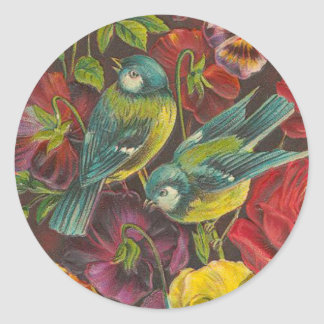Vintage Bird and Rose Stickers