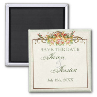 Vintage Bird and Roses - Save the Date Magnet
