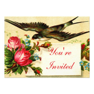 Vintage Bird and Roses Tea Party Personalized Announcement