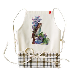 Vintage bird animal blossoms flowers branch vines zazzle HEART apron