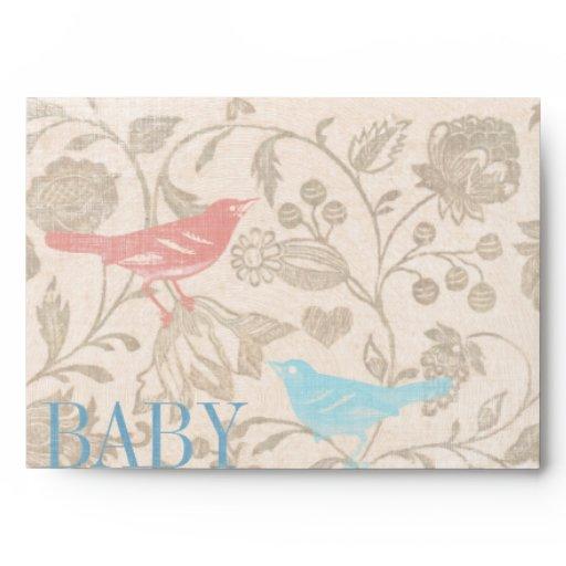 vintage bird baby girl shower invitations envelopes zazzle