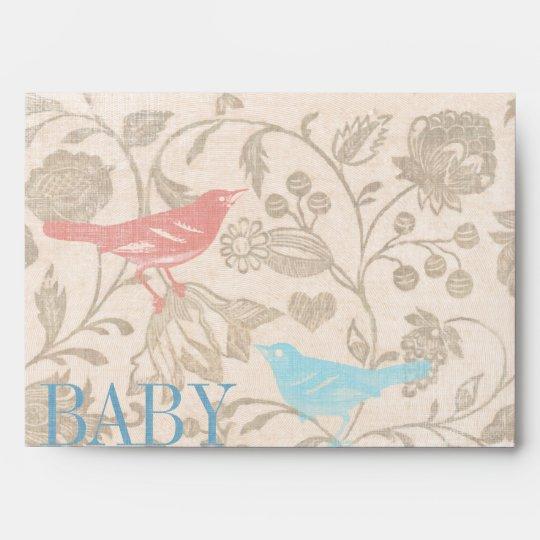 Vintage Bird Baby Girl Shower Invitations Envelope