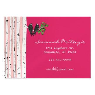 Vintage Bird Birch Tree on Pink Business Cards