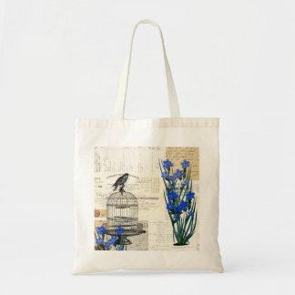 Vintage Bird Birdcage Blue Flowers French Bag