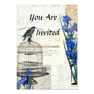 "Vintage Bird Birdcage Blue Flowers French 5"" X 7"" Invitation Card"