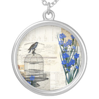 Vintage Bird Birdcage Blue Flowers French Silver Plated Necklace