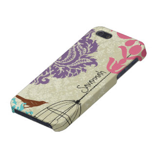 Vintage Bird Black Bird Cage Pink Damask iPhone 5 Cover For iPhone SE/5/5s