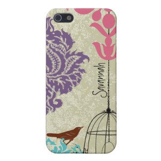 Vintage Bird Black Bird Cage Pink Damask iPhone 5 iPhone SE/5/5s Case