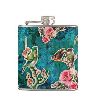 Vintage Bird Blue Flask