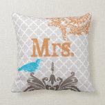 Vintage Bird Brides Pillow Monogram Tile Pattern