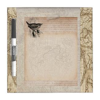 Vintage Bird Brown Sepia Paper Collage Dry-Erase Board