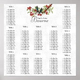 Vintage Bird Burgundy Teal Seating Chart 12 Tables print