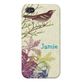 Vintage Bird Butterfly Aqua Plum Damask iPhone iPhone 4 Case
