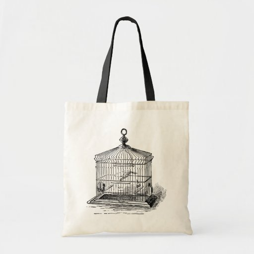 Vintage Bird Cage Tote Bags