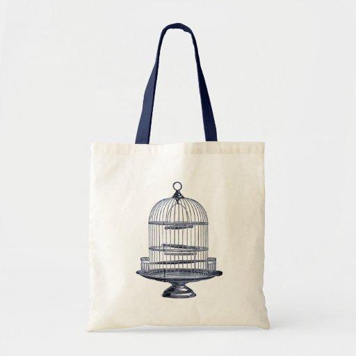 Vintage Bird Cage Canvas Bag