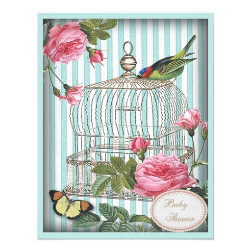 Vintage Bird, Cage, Butterfly & Roses Baby Shower Invites