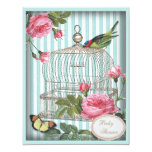 """Vintage Bird, Cage, Butterfly & Roses Baby Shower 4.25"""" X 5.5"""" Invitation Card"""