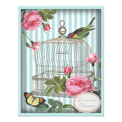 Vintage Bird, Cage, Butterfly & Roses Quinceanera Personalized Invites