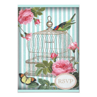 Vintage Bird, Cage, Butterfly & Roses RSVP Card