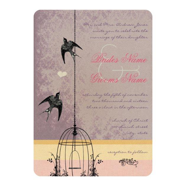 Of wedding invitation cards 63 on wedding invitation cards new designs - Vintage Bird Cage Eggplant Wedding Invitations Zazzle