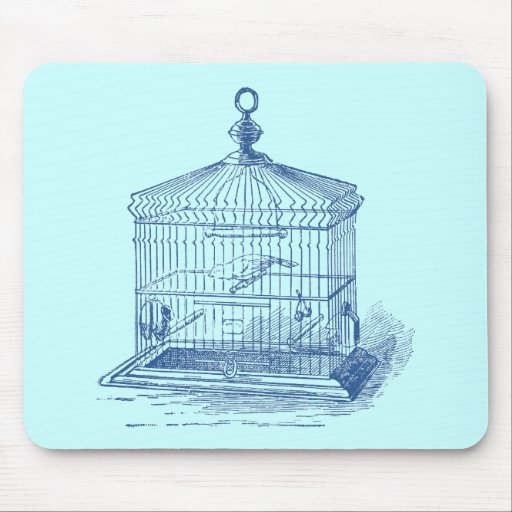 Vintage Bird Cage Mouse Pad