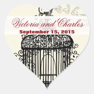 Vintage Bird Cage Musical Love Bird Aqua Weddings Heart Sticker