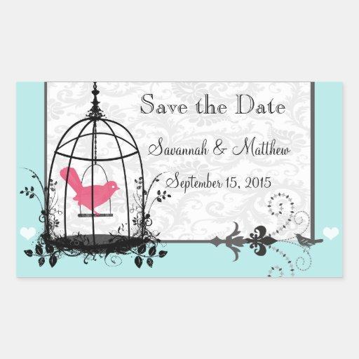 Vintage Bird Cage Musical Love Bird Weddings Rectangular Sticker