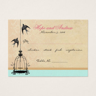 Vintage Bird Cage Place Card with Menu Selection