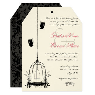 Vintage Bird Cage Red Accents Damask Wedding Card