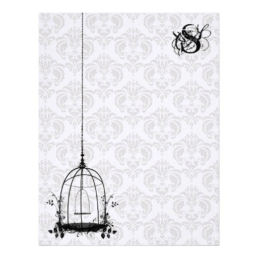 Vintage Bird Cage Red Damask Monogram Letterhead