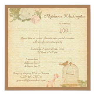 Vintage Bird Cage & Roses 100th Birthday Card
