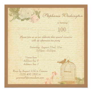 Vintage Bird Cage & Roses 100th Birthday 5.25x5.25 Square Paper Invitation Card