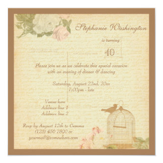 Vintage Bird Cage & Roses 40th Birthday Card