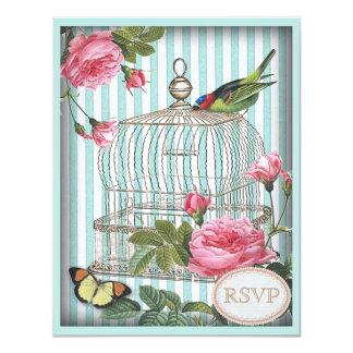 Vintage Bird, Cage & Roses RSVP Card