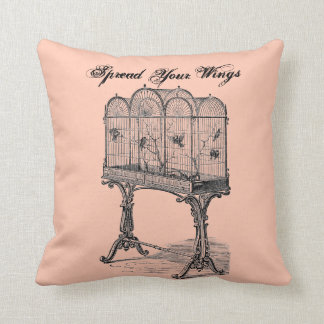 """Vintage Bird Cage """"Spread Your Wings"""" Throw Pillow"""