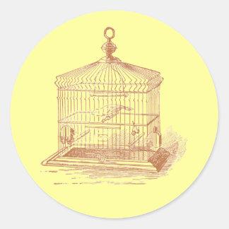 Vintage Bird Cage Round Sticker