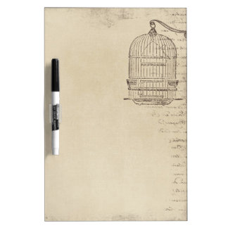 Vintage Bird Cage with old Writing Dry Erase Whiteboards