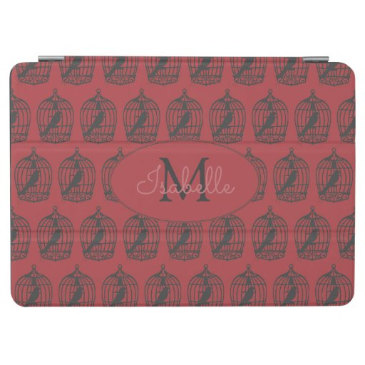 Vintage Bird Cages on Red iPad Air Cover