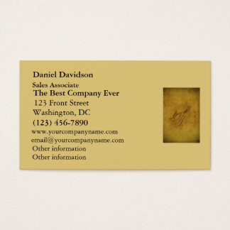 Vintage Bird Calligraphy on Gold Business Card