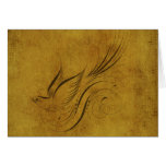 Vintage Bird Calligraphy on Gold Cards