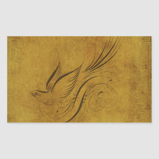 Vintage Bird Calligraphy on Gold Stickers