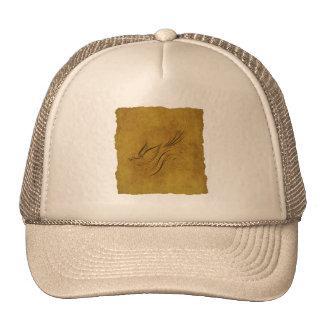 Vintage Bird Calligraphy on Gold Trucker Hat