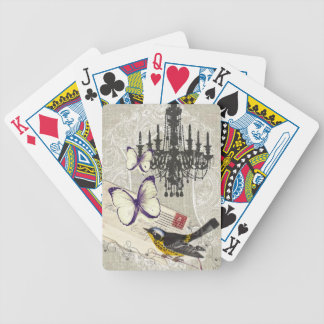 vintage Bird chandelier chic Paris Bicycle Playing Cards